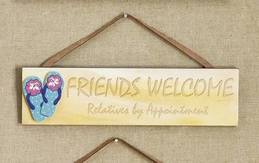Friends Welcome Flip Flop Wall Plaque #4348