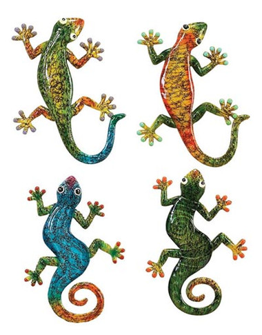 Set of 4 colorful Geckos Nautical Seasons