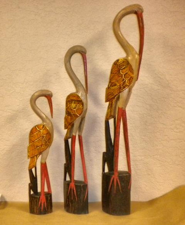 Set of 3 Hand Carved Herons #14122