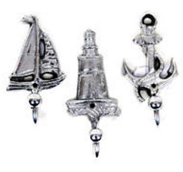 Nautical Sailboat, Lighthouse & Anchor Hooks Set of 3 #2315