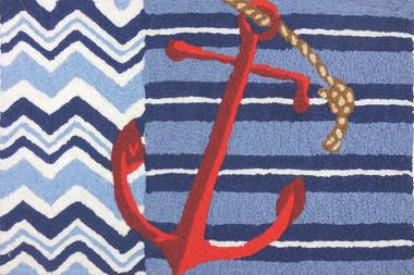 Nautical Anchor Rug Washable Jellybean #15111 New!