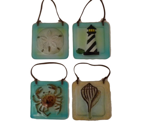Crab, Shell, Lighthouse Glass Plaques Nautical Seasons