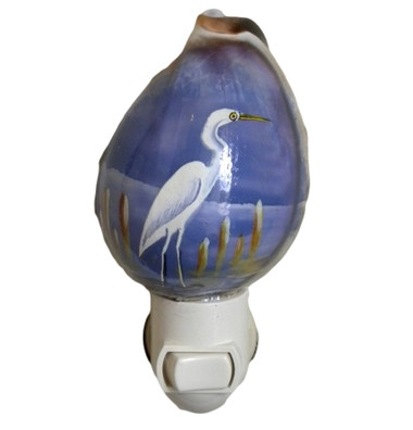 White Heron  Night Light  Nautical Seasons