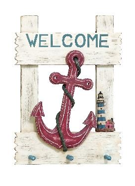 Anchor Welcome Wooden Wall Plaque  Nautical Seasons