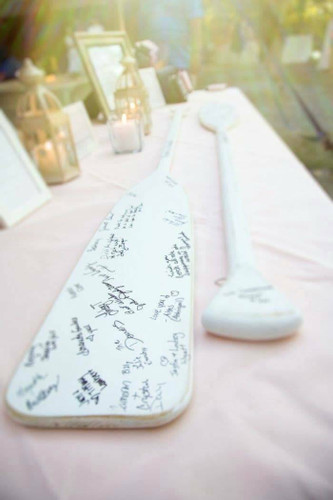 Wedding Guest Book Paddles White Nautical Seasons