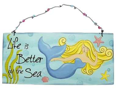 Life is better by the sea Mermaid Sign  Nautical Seasons