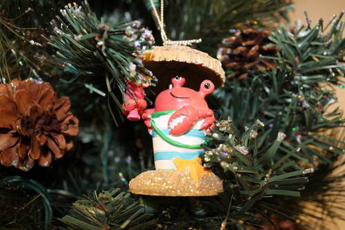 Party Crab Ornament in Christmas Tree