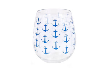 Acrylic Navy Anchor Print Wine Glass  20oz Nautical Seasons