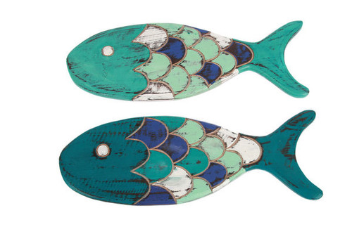 Fish Shaped Wood Wall Decor - 2 Assorted - 14.5""