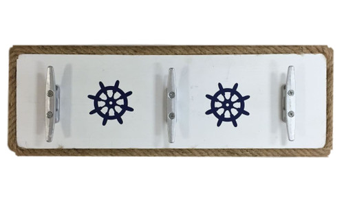Boat Cleat Wall Hanger  With Ships Wheels Nautical Seasons