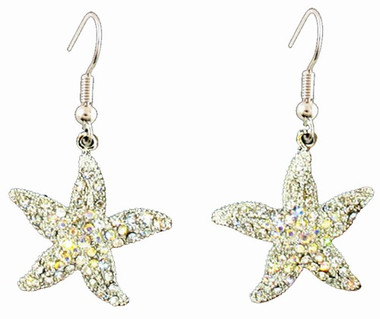 Starfish Earrings Swarovski Crystals  Nautical Seasons