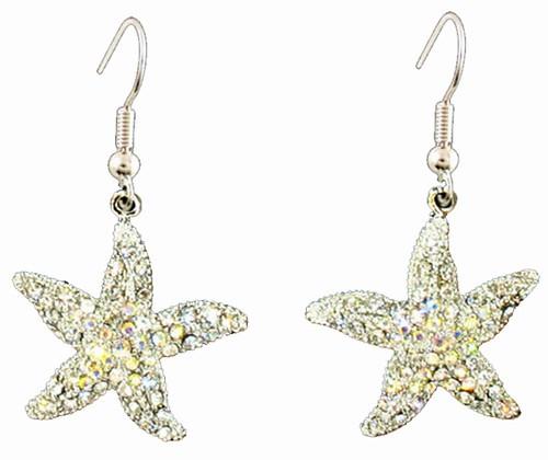 Starfish Earrings Swarovski Crystals  Nautical Seasons