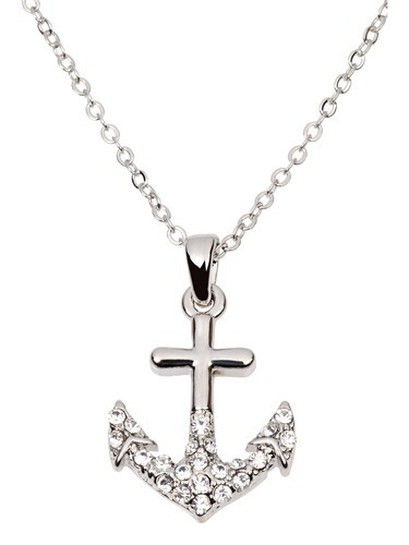 Silver Anchor Necklace  Nautical Seasons