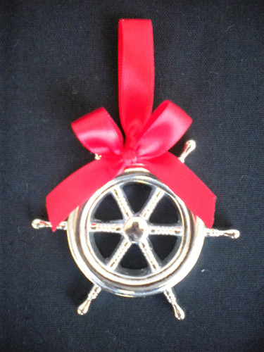 Silver Ships Wheel Ornament Nautical Seasons
