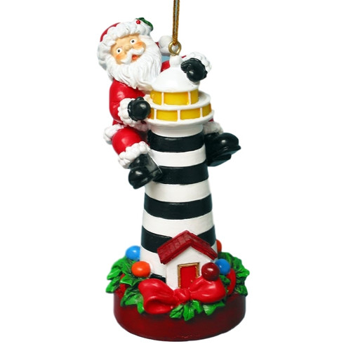 Lighthouse Santa Ornament  Nautical Seasons