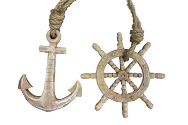Ships Wheel and Anchor Christmas Ornaments Nautical Seasons