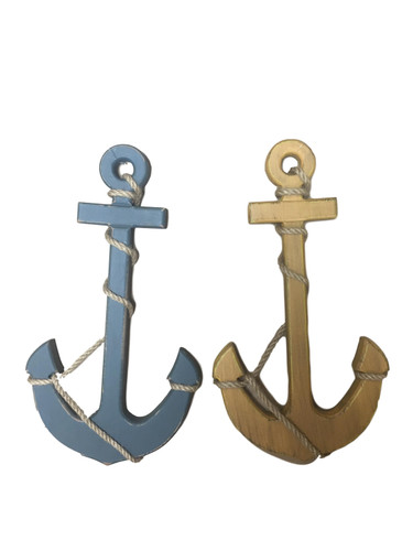 Wooden Wall Anchor Yellow or Blue  Nautical Seasons