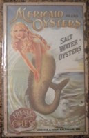 Mermaid Oysters Metal Wall Sign  Nautical Seasons