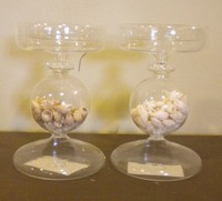 Round Glass Seashell Candle Holder #2398