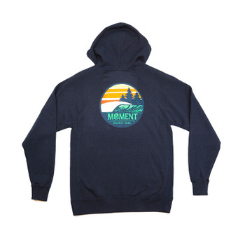 Moment Sunset Waves Pullover Hoodie - Navy - Back