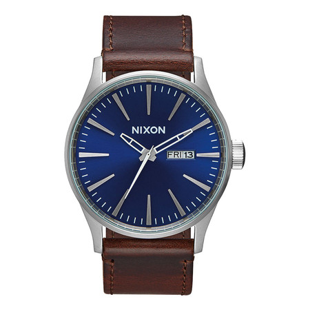 Nixon Sentry Leather Watch - Blue / Brown