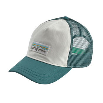 Patagonia Women's Pastel P-6 Label Layback Trucker Hat - White / Tasmanian Teal