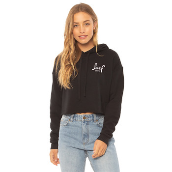SisstrEvolution Surf Cats Crop Hoodie - Black