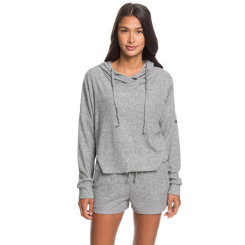 Roxy Way Back When Hooded Long Sleeve Rib Knit Top - Heritage Heather