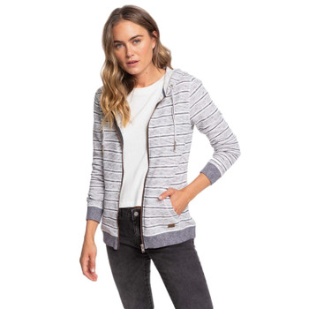 Roxy Trippin Zip Hoodie - Mood Indigo Sunday Stripe - Zip Open