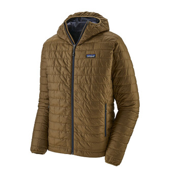 Patagonia Nano Puff Men's Hooded Jacket - Coriander Brown w/River Delta Multi: Smolder Blue