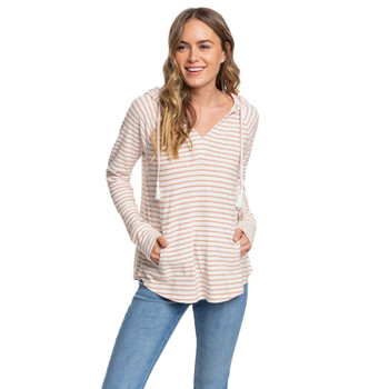 Roxy Long Night Hooded Long Sleeve Top - Cafe Creme