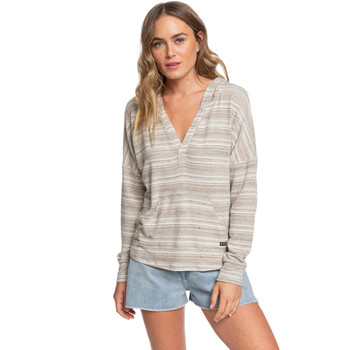 Roxy Sweet Thing Cozy Long Sleeve Hooded Top - Anthracite Heather Stripes