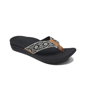 Reef Women's Ortho-Bounce Woven Sandal - Black / White