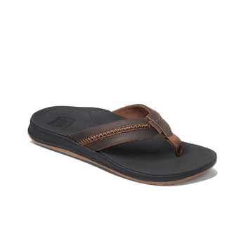 Reef Leather Ortho-Bounce Coast Sandal - Black / Brown