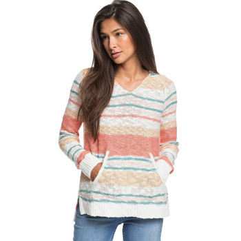 Roxy Airport Vibes Hooded Poncho Sweater - Snow White True Stripe