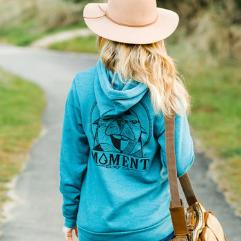 Moment Sea Lion Pullover Hoodie - Heather Deep Teal - Back