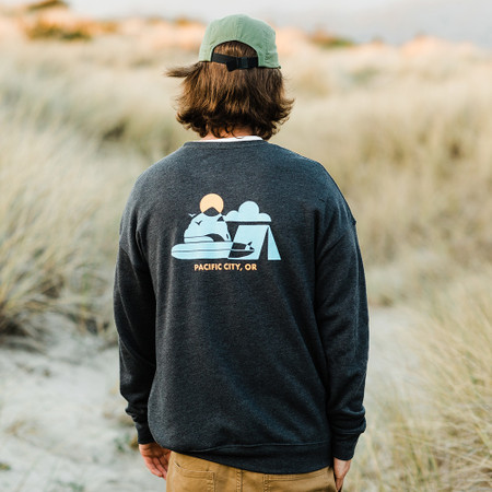 Moment Surf Camp Crew Sweatshirt - Dark Grey Heather - Back