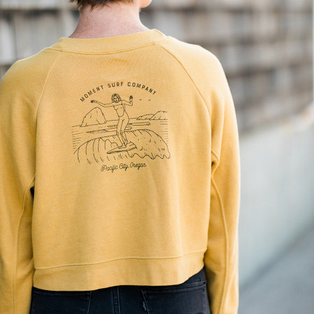 Moment Lady Glider Raglan Pullover Crew - Heather Mustard