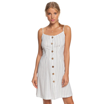 Roxy Sweet About Me Strappy Buttoned Dress - Mood Indigo Bicostripes