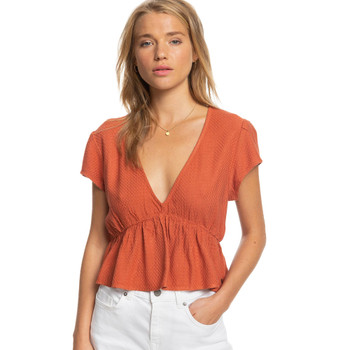 Roxy Sweet Release Short Sleeve Crop Top - Bruschetta