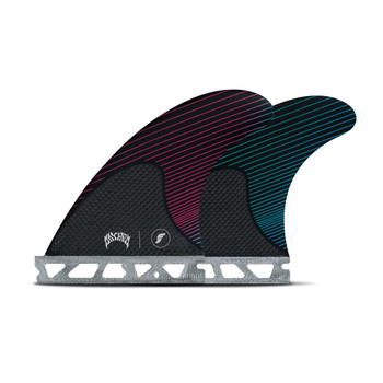 Futures Fins Mayhem Small Thruster Fin - Pink / Teal - Side & Rear Fins