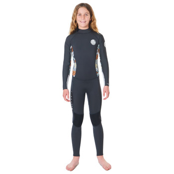 Rip Curl Junior Girls Dawn Patrol 3/2 Back Zip Wetsuit - Charcoal Grey
