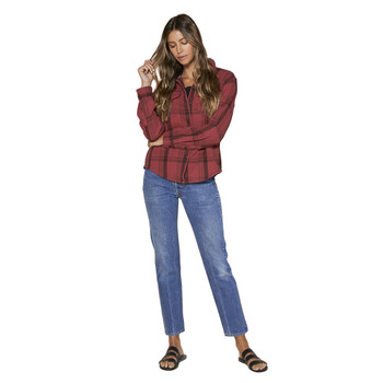Outerknown Women's Blanket Shirt - Dusty Red Cusco Plaid