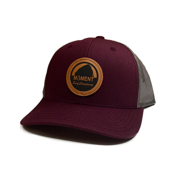 Moment Bright Leather Patch Rock Hat - Burgundy Charcoal