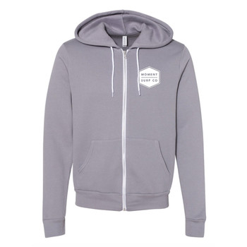 Moment Boxed Logo Zip Hoodie - Storm