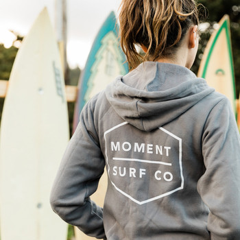 Moment Boxed Logo Zip Hoodie - Storm - Back