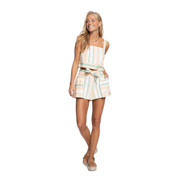 Roxy Past Midnight Paper Bag Shorts - Snow White Dreaming Stripes