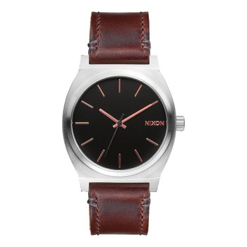 Nixon Time Teller Watch - Gray / Rose Gold / Brown