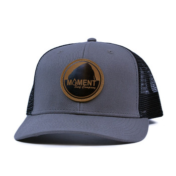 Moment Bright Leather Patch Rock Hat Curved Bill - Charcoal / Black