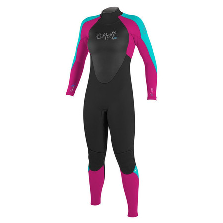 O'Neill Youth Girls Epic 4/3 Wetsuit -Black/Berry/Aqua